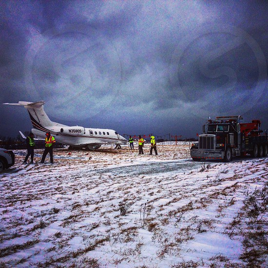 Airplane recovery at o'hare airport in Chicago. photo