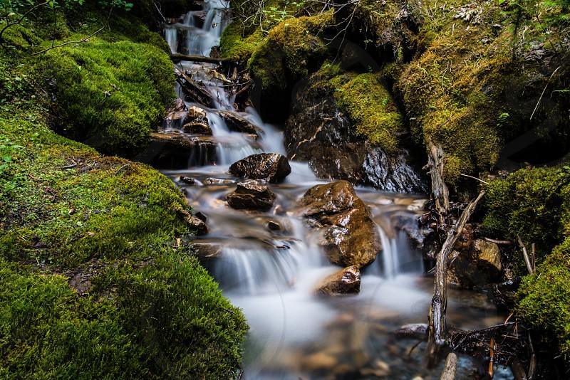 Long Exposure Mountain Stream in Panorama BC Canada photo