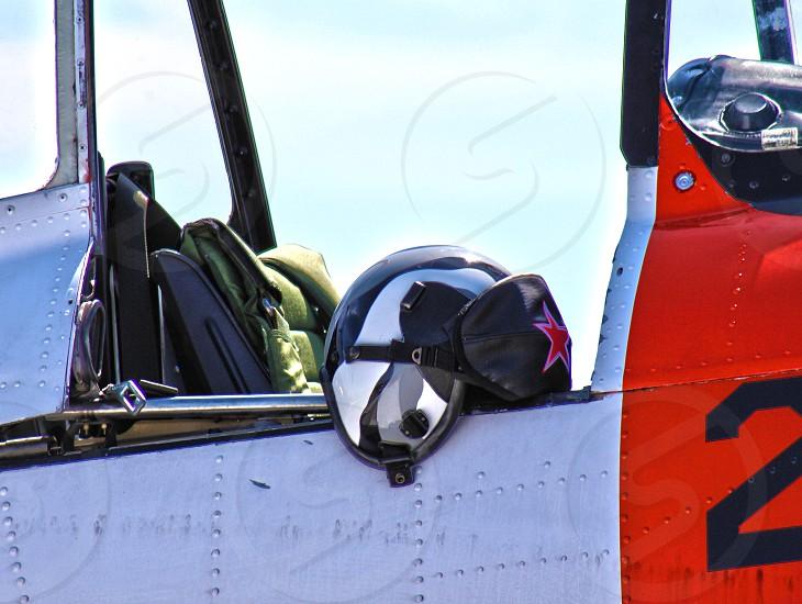 Airplane & helmet. photo