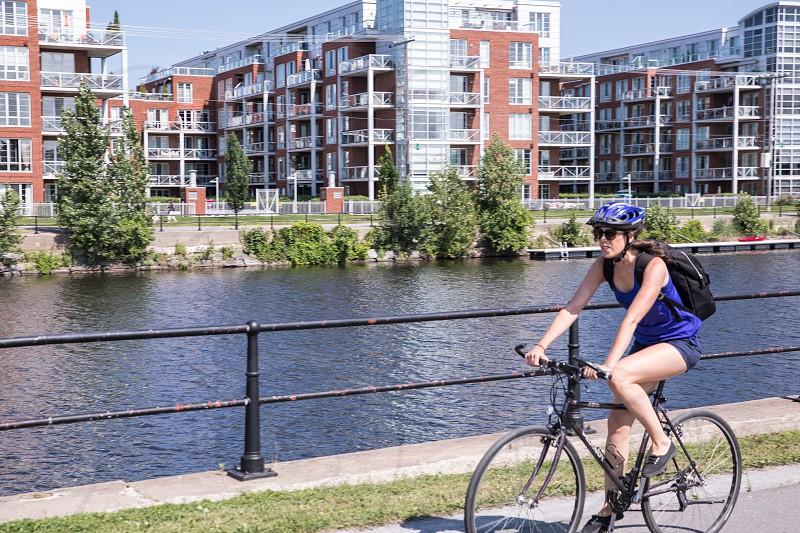 Summer biking along a canal. photo