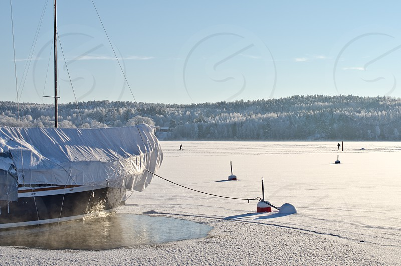 Winter harbor landscape Sweden. photo