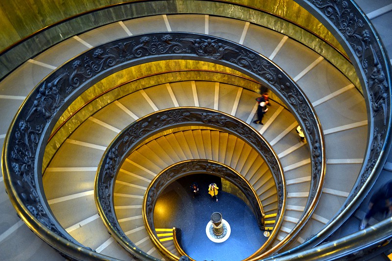 Vatican Museum spiral stairs staircase symmetry pattern lines photo