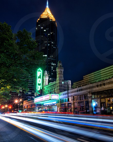 Night shot of the Fox Theater and Bank of America Plaza in Atlanta Georgia. photo