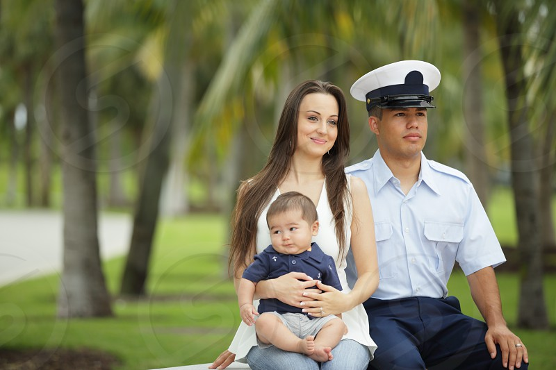 Military family in the park photo