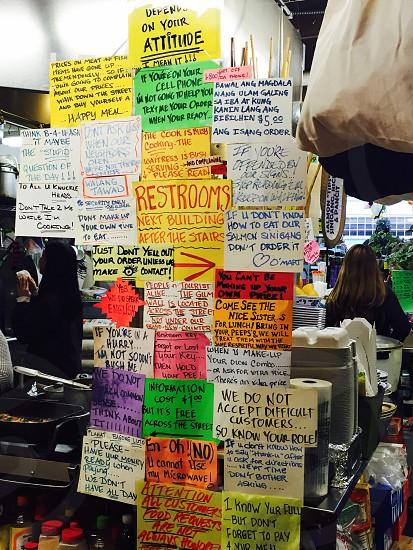 True signs in Seattle Washington restaurant photo