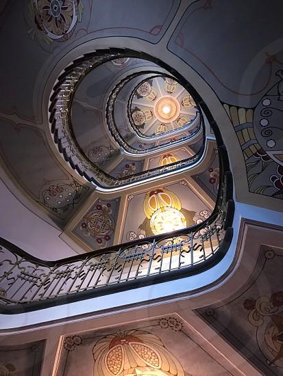 Indoor day Colour vertical portrait haze art Nouveau museum Riga Latvia Europe European stairs staircase spiral skylight ceiling decorative ornate culture art art Nouveau travel tourism tourist wanderlust photo