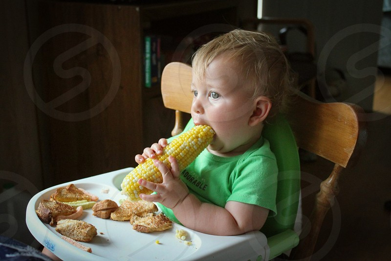 Food  corn eating  vegetables summer summertime baby  child  photo