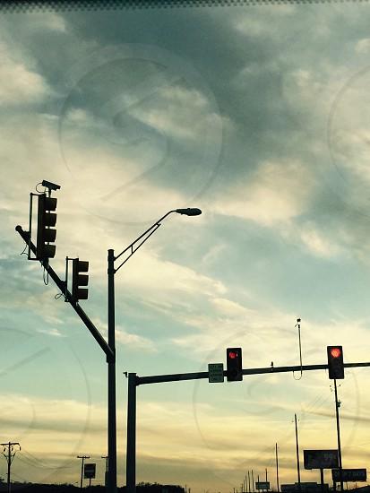 Traffic lights at sunset photo