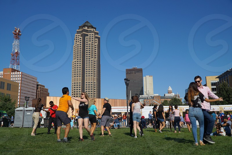 World food and music festival Des Moines Iowa salsa music downtown city life  photo