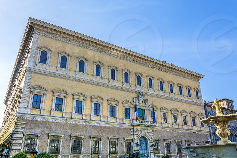 Palazzo Farnese or Farnese Palace is one of the most important High Renaissance palaces in Rome. Owned by the Italian Republic it was given to the French government in 1936 for a period of 99 years and currently serves as the French embassy in Italy. photo