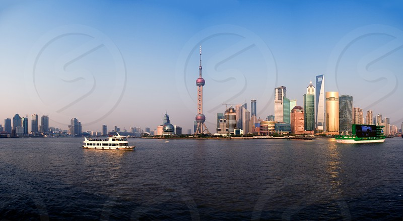 shanghai pudong finacial district wide panoramic view  photo
