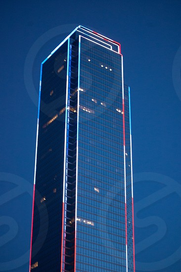 Dallas Texas building architecture structure red white blue patriotic lights photo