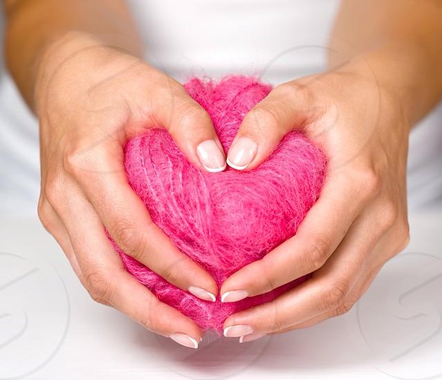 Love feelings Valentin day pink heart girl  photo