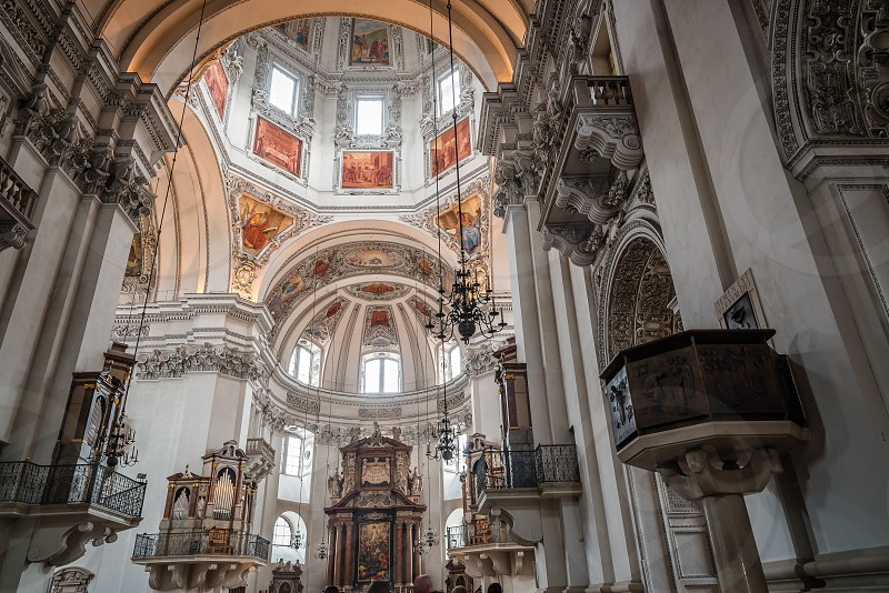 Interior view of the Cathedral of Salzburg photo