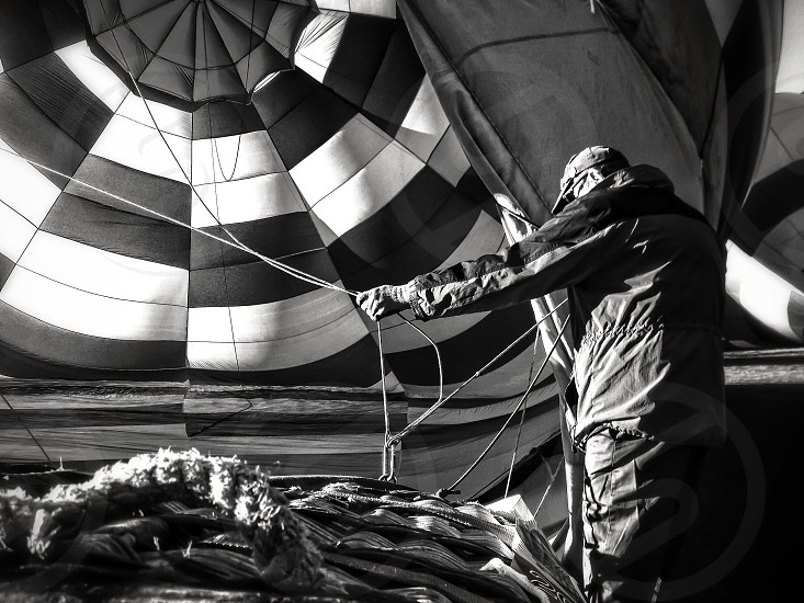 black and white hot air balloon photo
