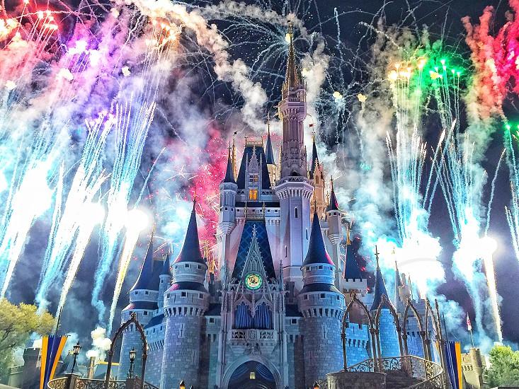 Disney magic kingdom castle fireworks. photo