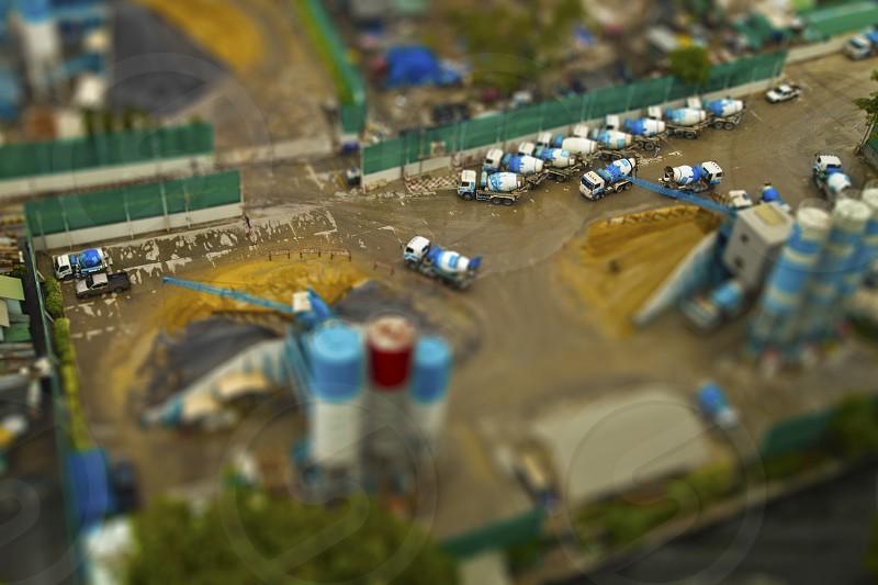 Construction site miniature view from above tilt-shift effect photo