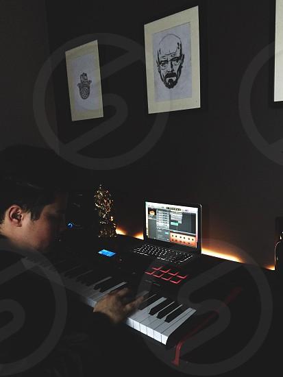 black and white electronic keyboard photo