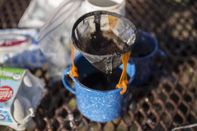 pour over coffee while camping photo