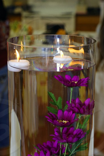 head table wedding centerpiece floating candles photo