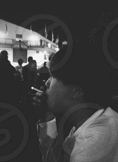 friend man cigarette night people independence  day San Francisco summer photo