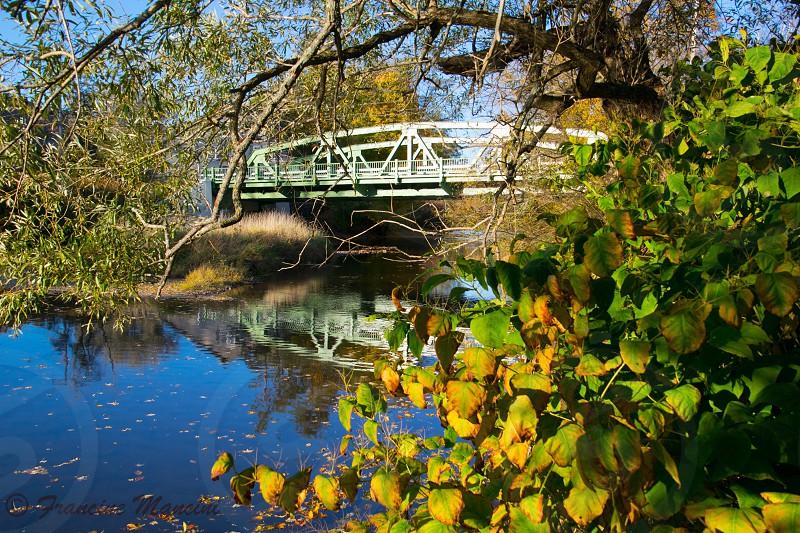 Fall autumn lake bridge trees colors reflections  photo