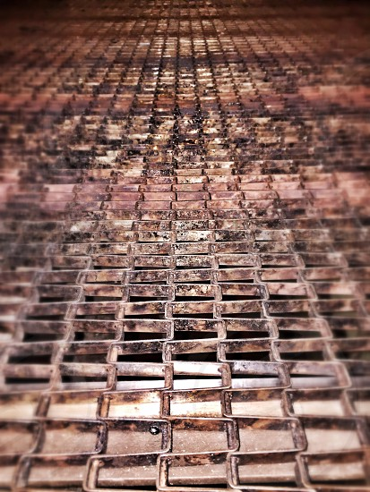 Stripes belt iron weaving chains rust metal photo