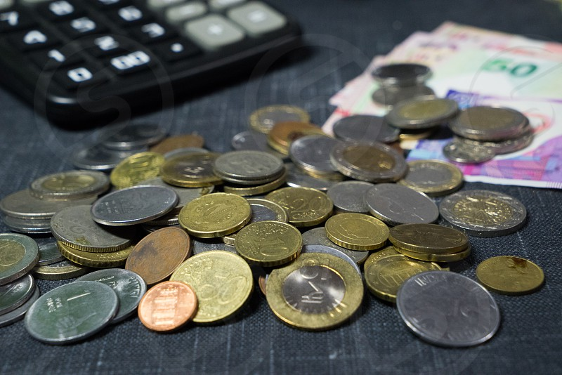 Copper、paper currency  photo