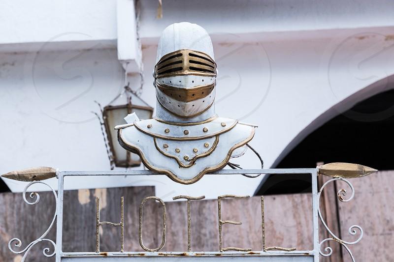 A close-up of a helmet as a part of a hotel in Merida Yucatan Mexico.  photo