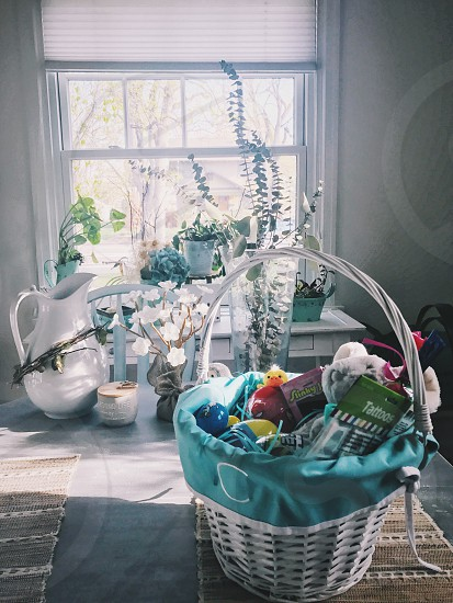 Easter basket Easter goodies celebrate holidays Easter candy Easter morning  photo