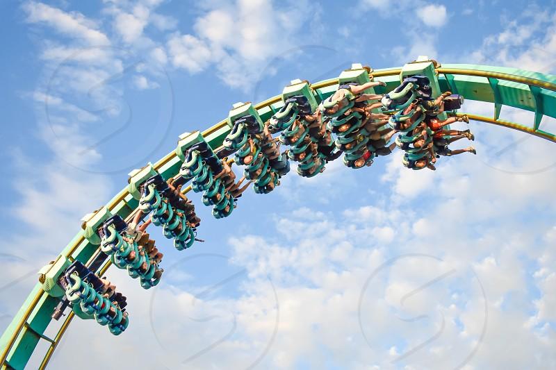 Orlando Florida. January 20 2019 People having fun Kraken rollercoaster at Seaworld Marine Theme Park. photo