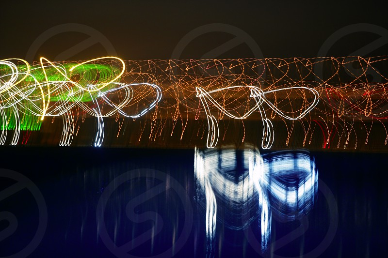 Abstract colorful vibrant night lights background texture photo