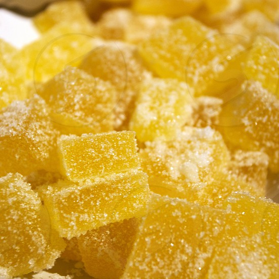 Sugared lemon gelatin cubes photo