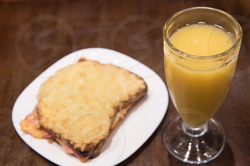 breakfast  cheese sandwich orange juice  photo