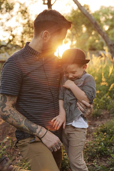 Summer golden father son  dad joy spring laugh love  photo