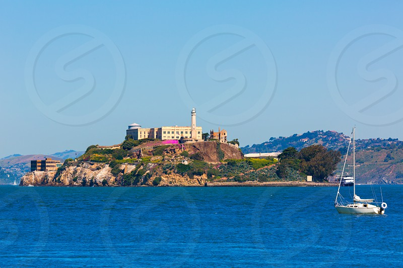 Alcatraz island penitentiary in San Francisco Bay California USA view from Pier 39 photo