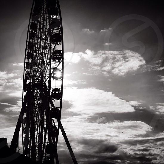 greyscale photo of ferries wheel photo