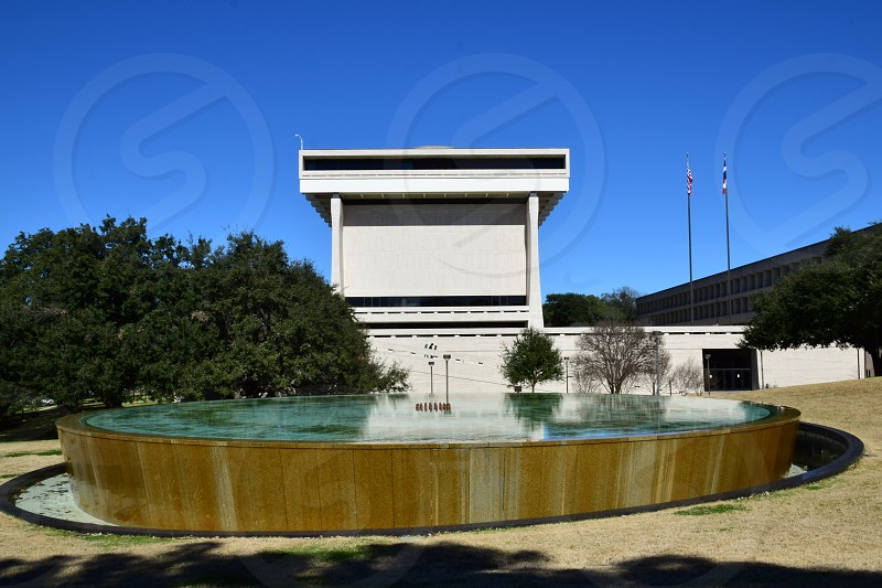 LBJ Presidential library exterior view in Austin Texas photo