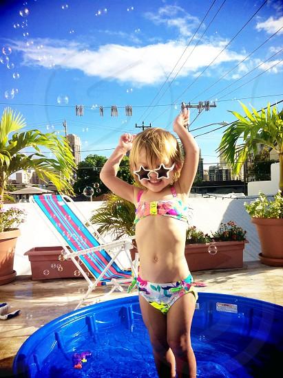Toddler's multicolored bikini set photo