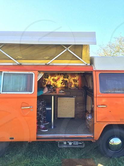 Van life. Summer camping.  photo