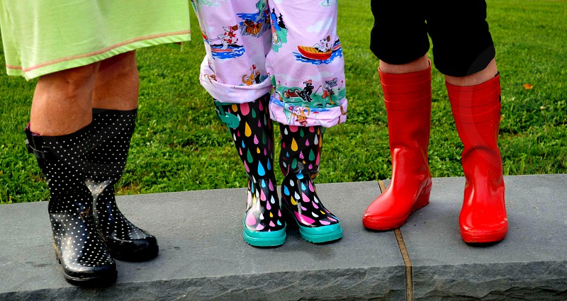 Spring means it's time to get out the colorful mud boots! photo