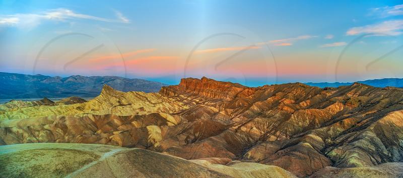 Zabriskie Point at sunset. Death Valley National Park. California. USA photo