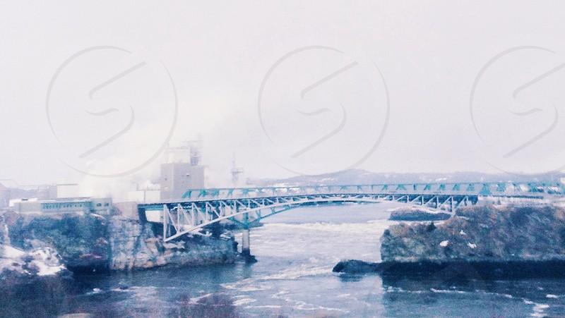 silver metal bridge  photo