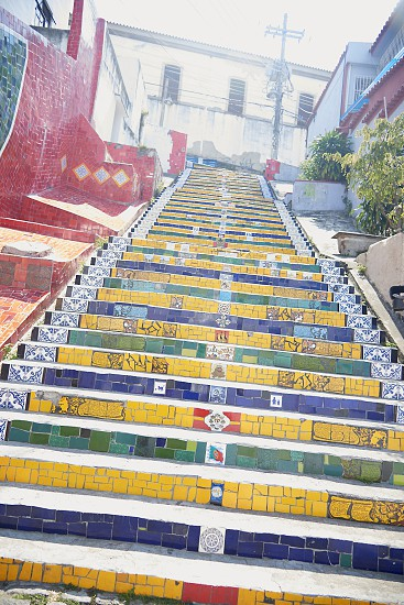 The colorful steps of Selaron in the Lapa district of RIo de Janeiro in Brazil in summer sunshine photo