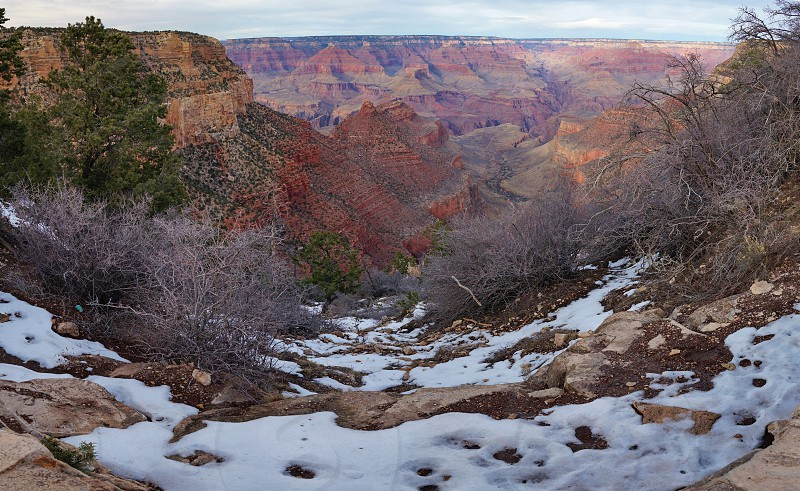 Snow over the Grand Canyon in Arizona in winter photo