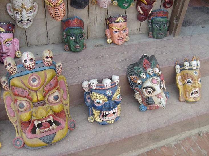 Mask Asia Nepal Kathmandu Katmandu Carnival Demon Face Traditional Tradition Buddhist Shaman photo