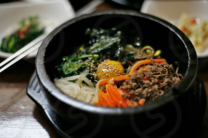 Korean bibimbap dish photo