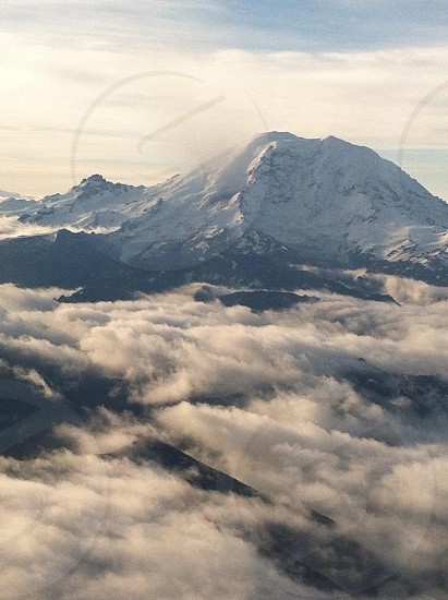 Mountains near Seattle from the sky photo