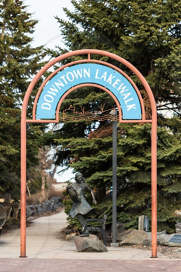 Entrance to Downtown Lakewalk in Canal Park in Duluth Minnesota adjacent to Lake Superior for recreational sight-seeing photo