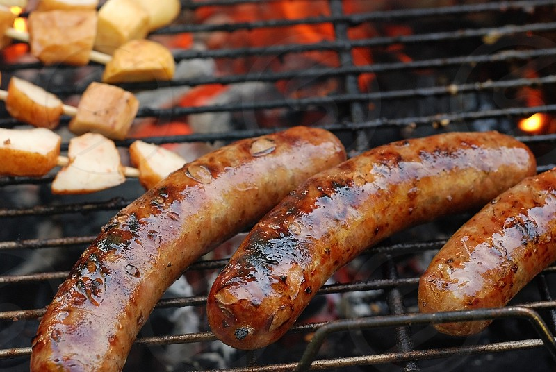 barbecue grill meat fire summer sausage food photo